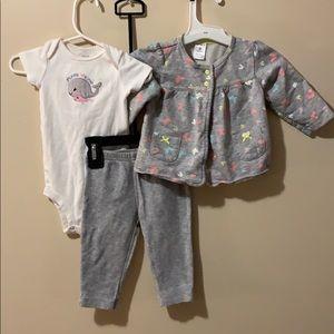 Girls 3 piece outfit leggings, onesie & cardigan